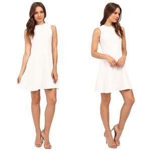 Shoshanna White Karen Textured Fit & Flare Dress
